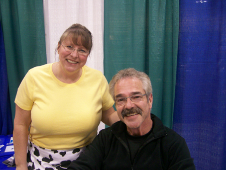 Ultra Balm Distributor Lisa Bass with Paul James, host of HGTV's Gardening By The Yard at a Home & Garden Show in Chicago